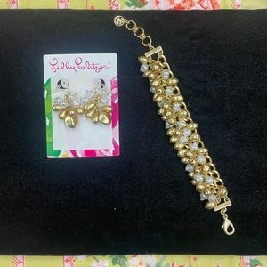 Lily Pulitzer matching earring and bracelet set